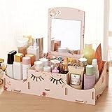 foxom mesa de madera joyas maquillaje almacenamiento pantalla organizador caja con espejo, polipropileno, Flowers, 32*16*9cm