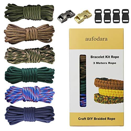 aufodara Paracord Armband Kit 6er 10ft Nylon Outdoor Seilen 2er Metall Klickverschlüsse und 4er Kunststoff Klickverschlüsse DIY Handgemachte Webart