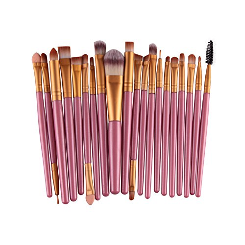 BigbigWo Tragbar 20 Stück Pink Make Up Pinselset Makeup Bürsten Berufskosmetik Kit Foundation...