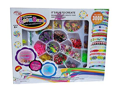 3000 Teile XXL Loom Starter Kit Set Bänder Bandz Gummibänder mit Charms Anhänger Webrahmen Haken S-Clips Bunt NEU