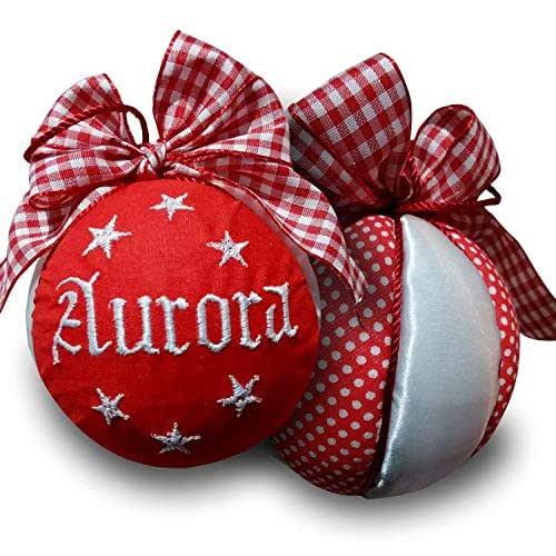 Crociedelizie, pallina di Natale personalizzata 8 cm nome ricamato decorazione natalizia personalizzabile rosso e raso bianco idea regalo + scatola regalo in omaggio