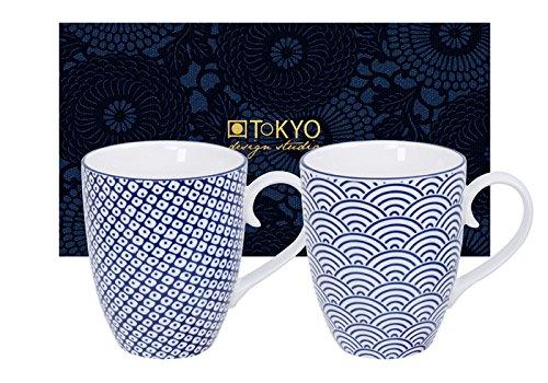 Tokyo Design Studio, Nippon Blue, 2 Tassen Set in dekorativer Geschenkbox, Porzellan Geschirr, 380ml