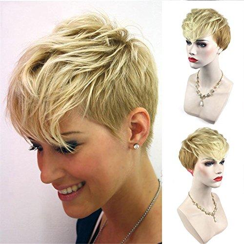 Stilvolle Kurze lockige Ombre Blonde synthetische Perücken Stil Haar für Frauen Kostümparty mit kostenlosen Perücke cap10 80g -
