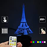 Lampees™ 3D Illusion LED Lamp Eiffel Tower with 7 colors change and Flashing Effect also comes with remote and USB cable can also use with AA size batteries