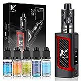 Kupbox E Zigarette Starter Set mit 5x10ml E Liquid ohne Nikotin, 80W E Shisha Dark Rider E Zigarette mit 0.5Ohm 2ml Verdampfer Tank, 2000mah Akku Kit - Rot