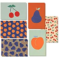 Best Paper Greetings 48 Pack All Occasion Assorted Blank Vintage Greeting Cards Bulk Box Set - 6 Colorful Fruit Designs Cherries, Pears, Peaches with Envelopes Included - 10 x 15 cm