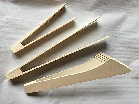 Uulki® Ensemble 3 Pinces Cuisine Alimentaire en Hêtre – Pince barbecue 32 cm, pince à Grille et Servir 28 cm, Petite Pince / Gourmet 19 cm