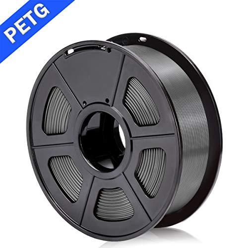 SUNLU PETG 3D Filament 1.75mm 1KG (2.2lb), PETG 3D Drucker Filament, Dimensionsgenauigkeit +/- 0.02 mm, 1 kg Spule, 1.75 mm, Grau PETG