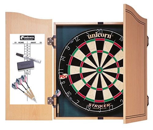 Unicorn Striker Home Dart Center, Holzkabinett mit Board, Marker, Wischer sowie Checkout-Tabelle