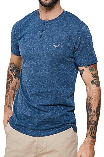Threadbare Herren Blusen T-Shirt, Einfarbig blau blau Small Blau