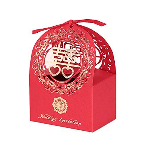 Panda Legends 10 Stücke Red Laser Cut Chinesischen Stil Hochzeit Pralinenschachtel Süße Party Favor Dekorative Leckereien Boxen
