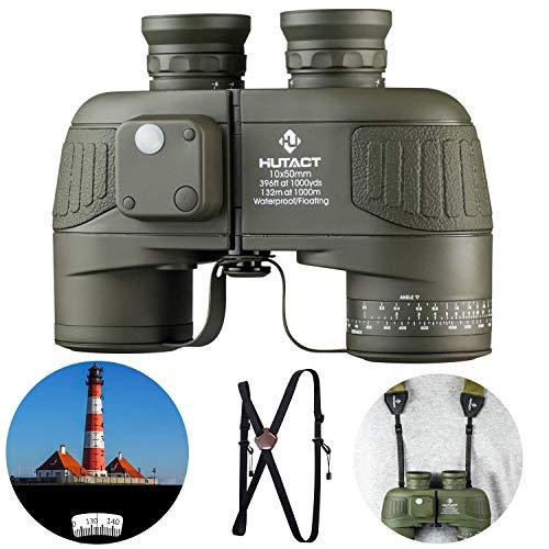HUTACT 10x50 Militär Fernglas Kompakt, Gut für Vogelbeobachtung, Eingebauter Kompass und...
