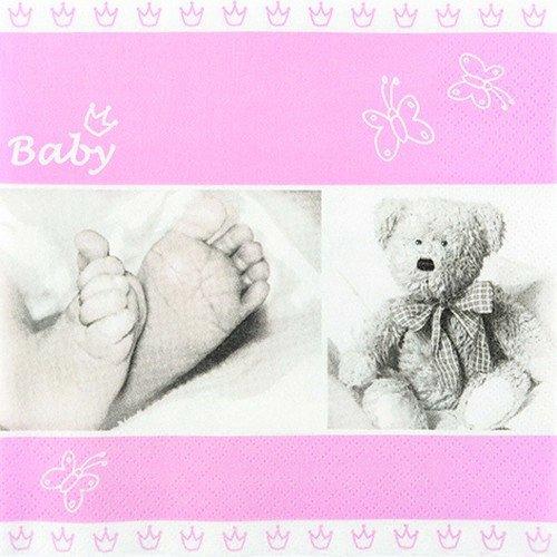 20 Servietten Babyfüße rosa / Taufe / Geburt / Baby / Mädchen 33x33cm