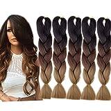 Emmet Tringles Jumbo en Boîte 100% Kanekalon Tressage Extension de Cheveux 24 Pouces Cheveux Synthétiques Résistants à la Chaleur Ombre 5pcs