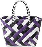 normani Einkaufstasche geflochten mit Henkeln - Tragetasche extra robust Farbe Visual Stripe/Purple Ratan
