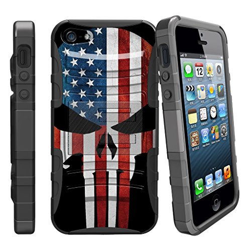 MINITURTLE Fall für iPhone SE, 5S 5SE | iPhone 5/5S/SE Fall [Clip Armor] stoßfest Hybrid Schutzhülle w/Ständer + Bonus Gürtelclip-Rot Schwarz Drachen, American Flag Skull