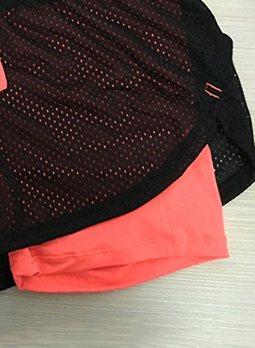 ACHICGIRL Women's Fake 2 Piece Drawstring Waist Yoga Running Shorts Orange