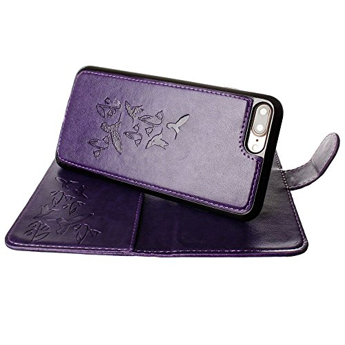 CellularOutfitter iPhone 7 Leather Wallet Case - Embossed Hummingbird Design w/ Matching Detachable Case and Wristlet - Teal Blue Purple