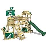 WICKEY Spielturm GhostFlyer Kletterturm Spielhaus auf Podest Grün mit Schaukel und Rutsche, großem Sandkasten, Kletterwand und Kletterleiter