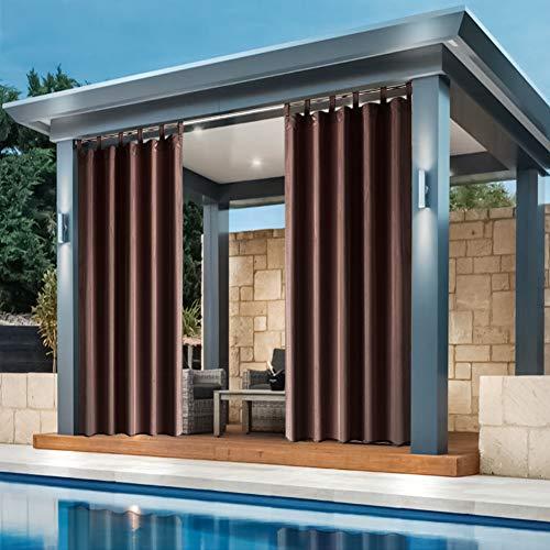 den Außenbereich, für Veranda, Terrasse, Sichtschutz, Schlaufenvorhang, mit UV-Strahlschutz, wasserdicht, einfach aufzuhängen, 127 x 274 cm, Kaffeebraun ()