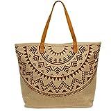 CASPAR TS1037 große XXL Damen Jute Naturfaser Strandtasche/Shopper mit stylischem Azteken Print und Leder Henkeln, Farbe:weinrot;Größe:One Size