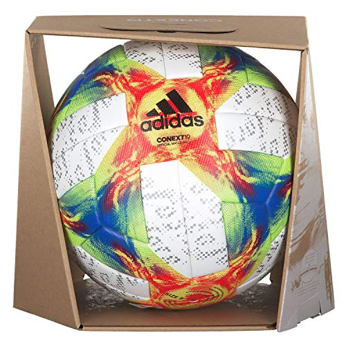 adidas Conext 19 Omb Ball, Herren, White Yellow/Solar Red/Football Blue, Größe 5 (Adidas Größe Fußball 5)