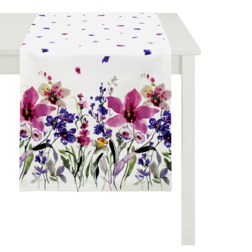 APELT 4060_48x140_90 Tischläufer Digitaldruck Blumenwiese circa 48 x 140 cm, violett/weiß