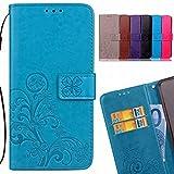 LEMORRY Huawei Honor Holly 3 Hülle Tasche Ledertasche Flip Beutel Slim Schutz Magnetisch SchutzHülle Weich Silikon Cover Schale für Huawei Honor Holly 3/Huawei Y6 II/Y6 2, Glücklicher Klee Blau