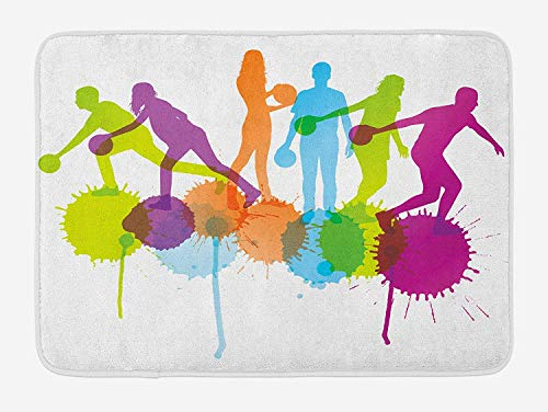 Bowling Party Bath Mat, Player Silhouettes Throwing Ball with Big Color Splatters Activity Fun Theme, 23.6 W X 15.7 W Inches -