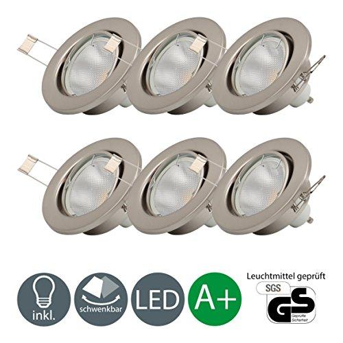 LED Einbaustrahler Schwenkbar Inkl. 6 x 5W Leuchtmittel 230V GU10 IP23 LED Einbauleuchte Deckenspot Decken Einbaustrahler Einbauspot Deckeneinbaustrahler Deckenstrahler