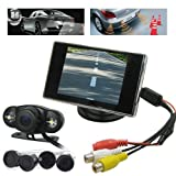"""BW Car Parking Kits - Sistema de videocámara pantalla y sensores para parte trasera del coche (sistema inalámbrico, pantalla de 3,5"""", 4 sensores)"""