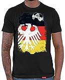 HARIZ  Herren T-Shirt Adler Ball Flagge Weltmeisterschaft Trikot WM Gratis Bang Sticks Deutschland Fussball Collection Black L