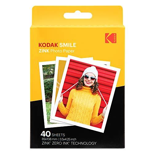 Kodak 3,5 x 4,25 Zoll Premium-Zink-Fotodruckpapier (40 Blatt) kompatibel mit der Kodak Smile Classic-Sofortbildkamera