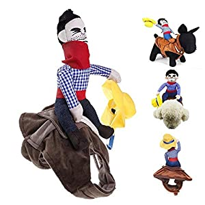 Leegoal Cowboy Rider Dog Costume, Pet Costume Dog Costume vêtements Pet Outfit Knight Style Doll Hat Cowboy Dog Clothing S-XL