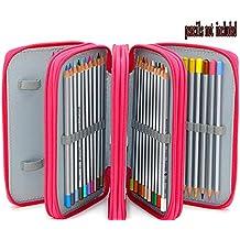 Xiaoyu 72 estuches prácticos porta-lápiz multi-capas con cremallera y  correa en tejido c554c41b6861