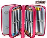 Xiaoyu 72 titolari portapenne porta matita con cerniera multipla e manico in tessuto oxford per matita acquerellata, penna gel, piccolo pennarello, rosa (non incluse)