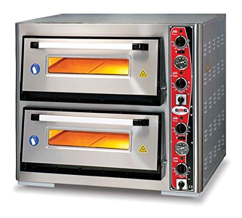 GMG Profi Pizzaofen für Gastronomie, 2 Backkammern, 4+4 x Ø33cm Pizzen, 67x68x15cm, bis 450°C