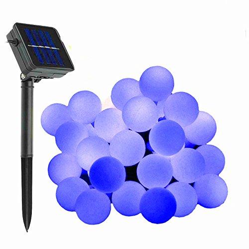 KEEDA Guirlande Lumineuses Solaire, 50 LED Boule Lumières Solaire Décoratives,Luminaire Extérieur, Lumières Chaines de Noël,Solaire Extérieure de Lampe (Bleu)