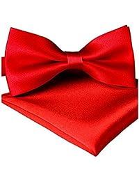 Sorella'z Mens Satin Red Bowtie with Pocket Square