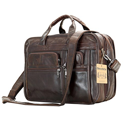 Leder Herren Tasche, berchirly Echtleder 39,6cm erweiterbar Laptop Computer Business Aktentasche Taschen Rindsleder Handtasche Fall