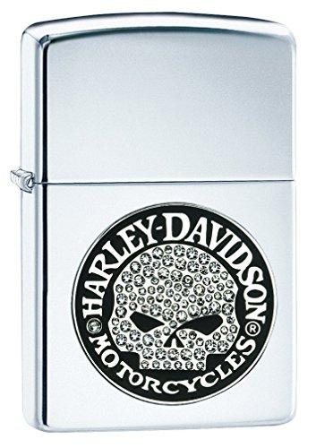 Zippo Unisex Harley Davidson Bling Skulls Emblem Feuerzeug, Edelstahloptik Skull Bling