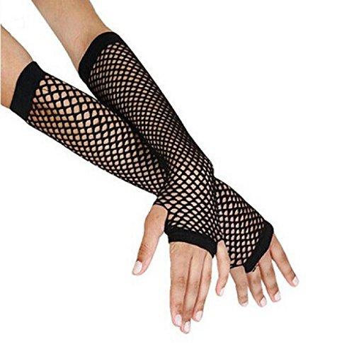 Handschuhe Damen Internet Punk Goth Dame Disco Tanz Kostüm Spitze Fingerless Mesh Fischnetz Handschuhe (schwarz)