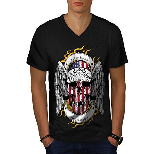 Schädel Motorradfahrer Kopf Gesicht USA Herren M V-Ausschnitt T-shirt | Wellcoda (Basketball-gesicht Schild)