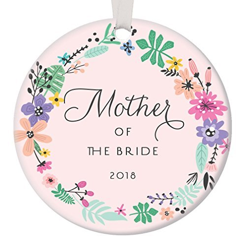 Pink Mother of The Bride Ornament 2018, Gift for Bride's Mom Christmas Ornament Wedding Party Thank You Favor Daughter Parents Circle Ceramic Present Flat Porcelain (First Favor Ideen Birthday Party)