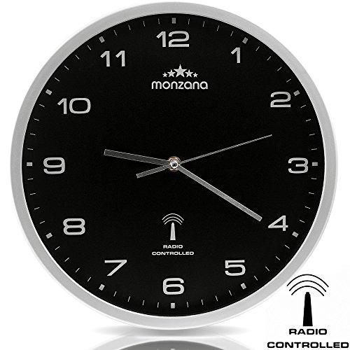Wanduhr Funkuhr Quarz Funkwanduhr Analog Uhr 31cm Zeitumstellung Automatisch - schwarz/silber
