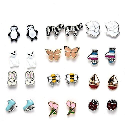 12 Paar Kinder Ohrringe Coole Emaille Tier Mädchen Ohrstecker Set Stecker,Nickelfrei Tier-ohrringe