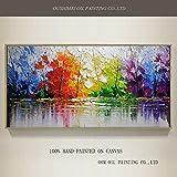 BAYUE Venta al por mayor de alta calidad de árboles abstractos pintura al óleo sobre lienzo hecho a mano hermosos colores abstractos paisajes árboles pinturas al óleo (Size (Inch) : 100x200CM)