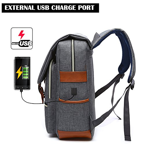15.6 Inch Gray Lightweight Functional Durable Nylon Travel Notebook Computer Bag Casual Daypack Rucksack for Men/&Women College/&Kid iCasso Laptop Backpack With USB Charging Port