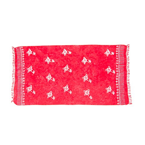 ManuMar Damen Sarong | Pareo Strandtuch | Leichtes Wickeltuch | Batik Design (L: 115 x 225 cm, Rot Hibiscus)