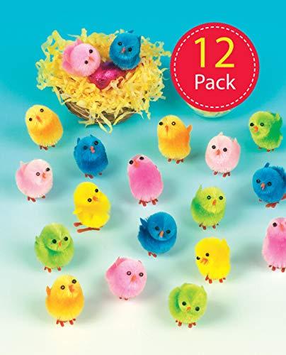 Baker Ross- Pollitos de Peluche de Colores (Pack de 12) -Crear Decoraciones de Primavera y Adornos de Pascua